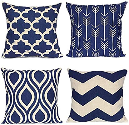 Pleasant Weyon Geometric Throw Pillow Covers Navy Blue Home Deco Outdoor For Sofa Couch Cotton Linen 18 X 18 Inch Set Of 4 Pabps2019 Chair Design Images Pabps2019Com