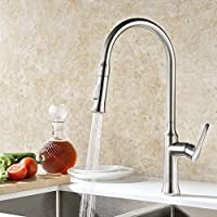 GICASA High Arch Brass Single Handle Pull Out Sprayer Kitchen Sink Faucet, Brushed Nickel High Quality Easy Install Stainless Steel Pull Down Faucets