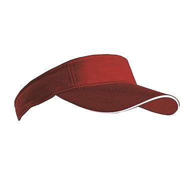 SPORTS SUN VISOR SANDWICH PEAK GOLF TENNIS CAP HAT - 12 COLOURS (MB6123)  (BURGUNDY   WHITE)  Amazon.co.uk  Clothing af1410171bd6