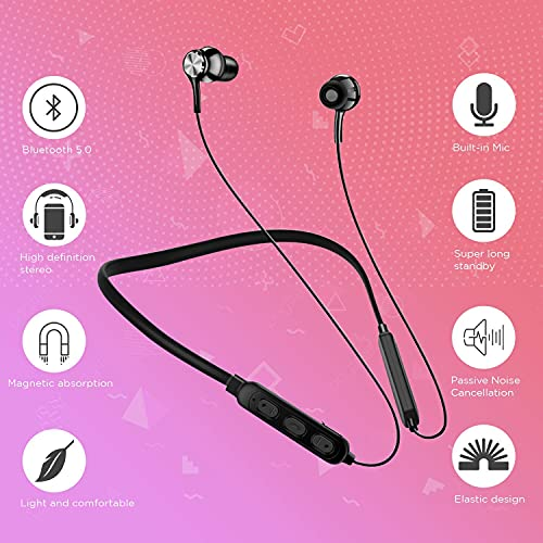 Wireless Bluetooth Headphones Earphone For Apple iPhone 12 Pro Max Neckband Earphone Bluetooth 5.0 Wireless Headphones with Hi-Fi Stereo Sound, 12Hrs Playtime, Lightweight Ergonomic Neckband, Sweat-Resistant Magnetic Earbuds Bluetooth Neckband with Vibration Alert for Calls, in-Ear Wireless Earphones with 12 Hour Battery Life, Fast Charging & in-Built Mic, IPX5 Sweatproof Headphones (Color As per Available)