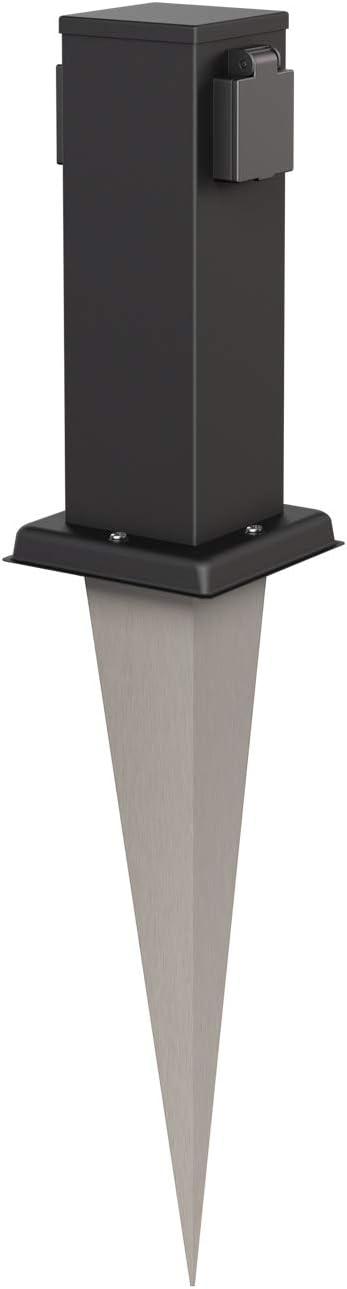 Stainless Steel 27cm BS Double Angular Black ledscom.de Garden Power Socket Column Polly with Ground Spike for Outdoor