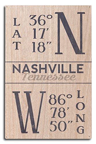 Nashville Tn Framed (Lantern Press Nashville, Tennessee - Latitude and Longitude (Blue) (10x15 Wood Wall Sign, Wall Decor Ready to Hang))
