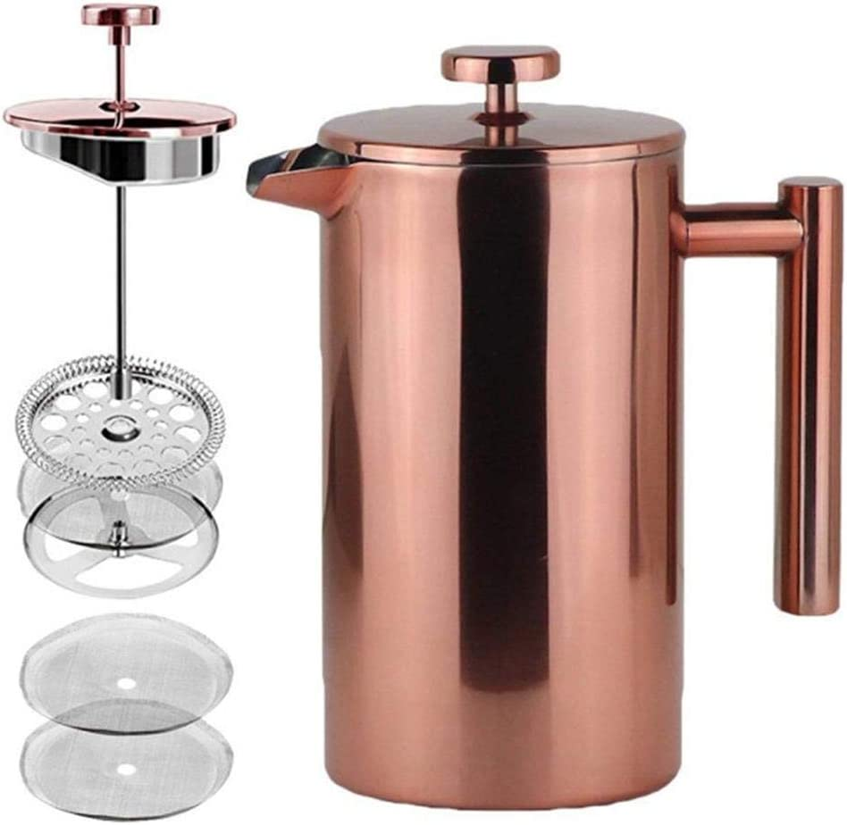 LA JOLIE MUSE French Press Coffee Maker Copper Finished,Double Walled Insulated Stainless Steel Coffee Press,2 Extra Screen Filters,34 oz 8 Cup, Thanksgiving Decor Gift