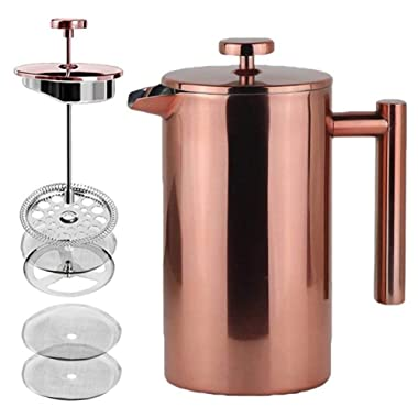 LA JOLIE MUSE French Press Coffee Maker Copper Finished,Double Walled Insulated Stainless Steel Coffee Press,2 Extra Screen Filters,34 oz 8 Cup