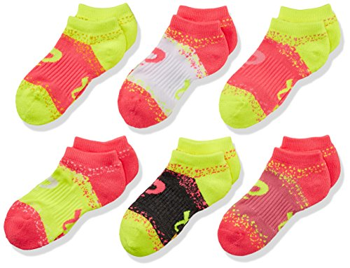 ASICS Youth Splatter No Show Yellow Ribbon Socks, Medium, Girls Assorted