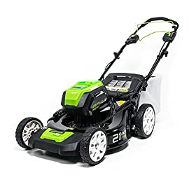 Greenworks PRO 21-Inch 80V Cordless Lawn Mower, Two 2.0AH Batteries Included GLM801601 69 Variable speed self propel for easier operation Brushless motors are more reliable and delivers gas equivalent performance to a 160cc gas engine Smart Cut(TM) Load sensing technology