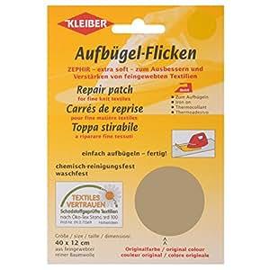 Kleiber - Parche de reparación termoadhesivo, de algodón, 40 x 12 cm, para telas de tejido fino, color Color beige