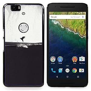 Gray Bird Sea Art Drawing Caja protectora de pl??stico duro Dise?¡Àado King Case For Huawei Nexus 6P