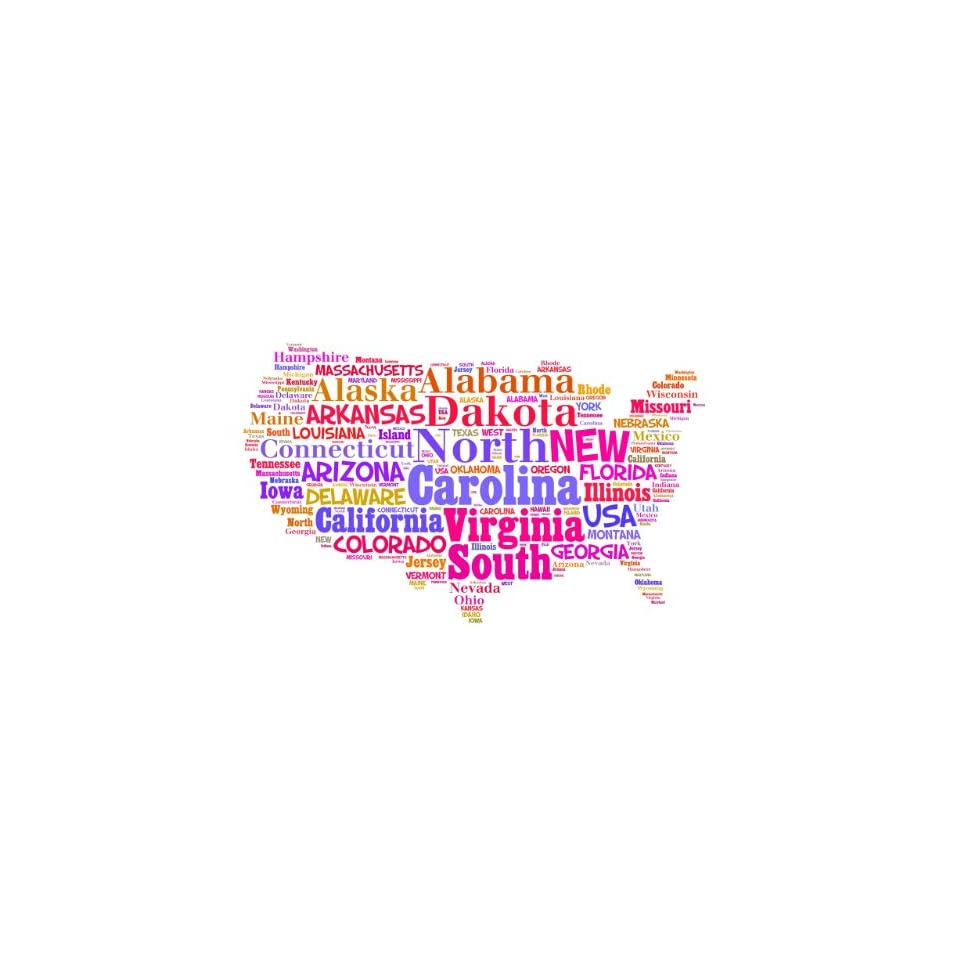 BEDROOM DECOR Colorful United States Map US Country Boy Girl Kid Children Graphic Design Picture Sticker Wall   Best Selling Cling Transfer Decal Color 760 Size  15 Inches X 20 Inches   22 Colors Available