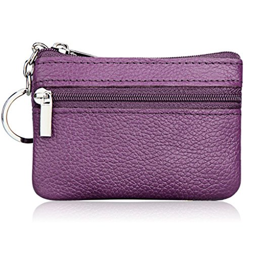 ALALEI Womens Small Cute Genuine Leather Wallet,Soft Mini Coin Purse with Key Ring Chain and Zipper Pocket for Women and Teens Girls (Shop Coin)