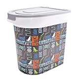 Paw Prints 26 Pound Pet Food Storage Container, Word Design, Includes 1 Cup Measured Scoop, 15.5 x 13.25 x 16.75 (37186)