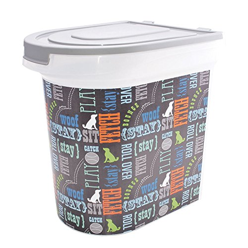 Paw Prints 26 Pound Pet Food Storage Container, Word Design, Includes 1 Cup Measured Scoop, 15.5 x 13.25 x 16.75 (37186) -
