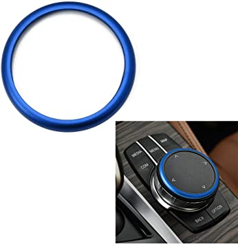 Fit All Fxx Chassis Codes iJDMTOY 1pc Blue Aluminum Ring For BMW 1 2 3 4 5 6 7 Series X3 X4 X5 X6 Center Console iDrive Multimedia Controller Knob