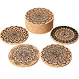 Tatuo 12 Pieces Cork Coasters for Drinks Absorbent Reusable Cup Mat Drink Coaster for Home Restaurant Office and Bar, 4 Inches