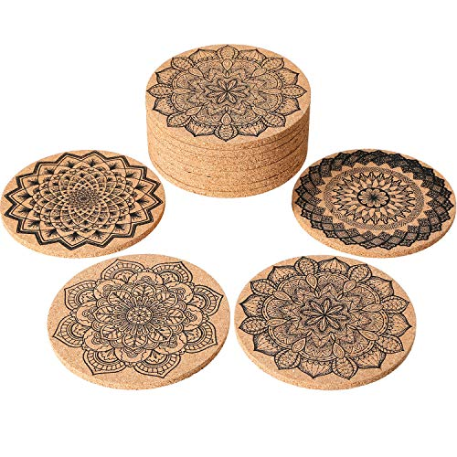 Tatuo 12 Pieces Cork Coasters for Drinks Absorbent Reusable Cup Mat Drink Coaster for Home Restaurant Office and Bar, 4 Inches by Tatuo