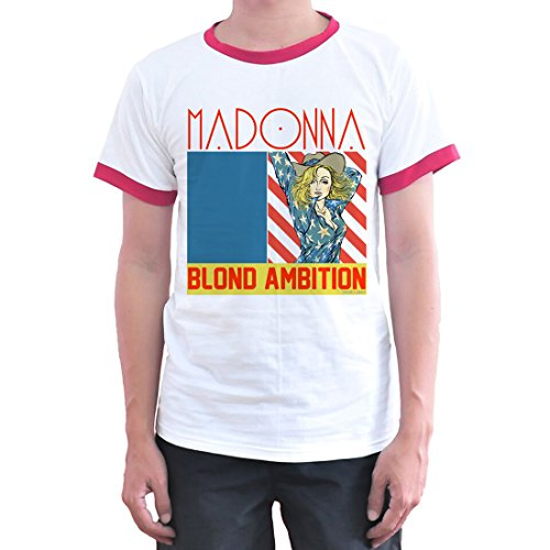 Adults Madonna Blind AMbition Ringer T-shirt. S to 3XL
