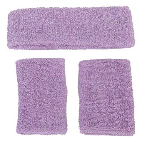 Cotton Elastic Sweatband (ROSENICE Sports Cotton Sweatband Set 1 Elastic Headband 2 Wristbands (Light Purple))