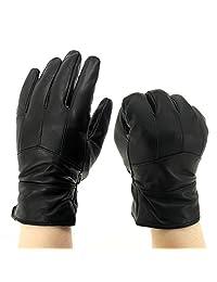 INES Lambskin Driving Gloves Motorcycle Cycling Men Winter Warm Duty Work Glove (XL)