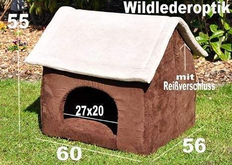 Niche pour chien chat imitation croûte de cuir Marron gris 60 x 56 cm   Amazon.fr  Animalerie 4427613026f8