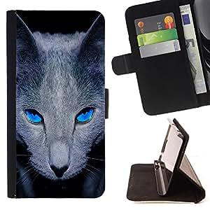 - Mysterious Black Magic Cat Blue - Estilo PU billetera de cuero del soporte del tir???¡¯???3n [solapa de cierre] Cubierta- For Samsung Galaxy S6 ( Devil Case )