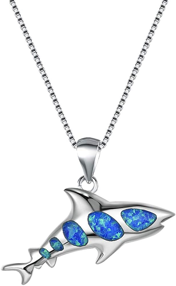Bamos Ocean Opal Necklace for Women Girls Boys, 14K Gold Plated Shark/Sea Turtle/Dolphin/Starfish/Sailfish/Penguin/Seahorse/Conch/Stingray/Whale Tail Pendant Necklace, 16.5