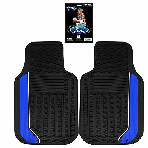4pc Elite Black Blue Front Rubber Floor Mats Universal & Ford Pin up Girl Decal