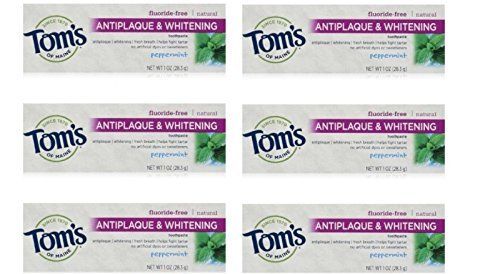 Tom's of Maine Natural Antiplaque Tartar Control & Whitening Toothpaste Peppermint 1 oz Travel Size (Pack of - Form Tom