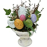 """Easter Speckled Potted Eggs 9"""" Table Top Centerpiece Decoration ~ White Ceramic Pot"""
