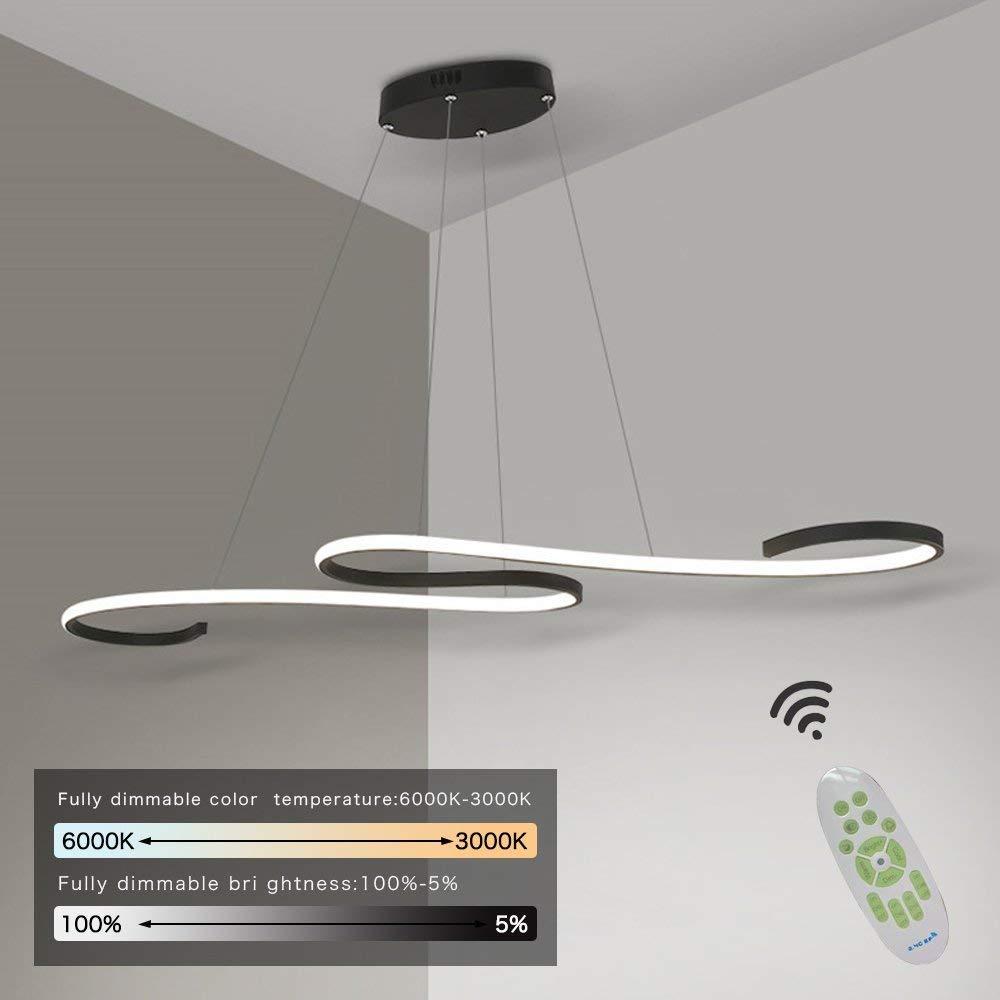 AILAIVM LED Pendelleuchte Esstisch Dimmbar Pendellampe Höhenverstellbar Hängeleuchte esszimmer Kurve Design Hängelampe mit Fernbedienung für Wohnzimmer Küche Büro (Schwarz, 46w Dimmbar)