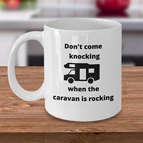 CAMPING coffee mug - Don't come knocking when the caravan is rocking - funny campers trailer cup perfect gift for husband wife