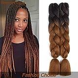 BeautyGrace 5 packs Afro Jumbo Braiding Hair Extensions Kanekalon Synthetic Twist Hair Multiple Tone Colored African Jumbo Braids Hair (24 inch, Black-Dark Brown)