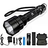 LED Flashlight CREE XML-T6/L2 Torch 8000Lumens for Riding Camping Hiking Hunting & Indoor Activities with 18650 Battery+Charger Package7 G