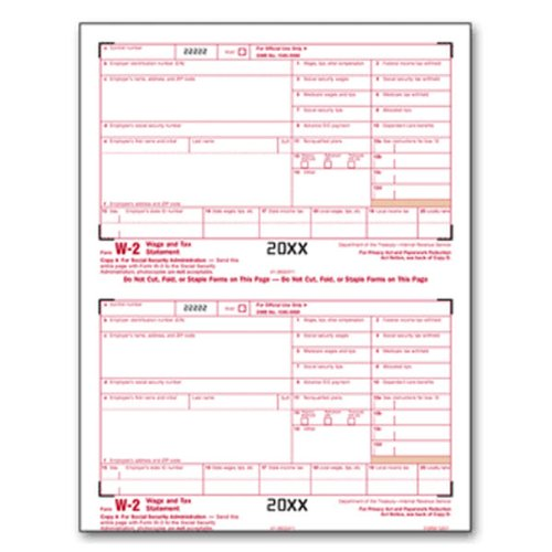 EGP IRS Approved W-2 Laser Federal Copy A Tax Form