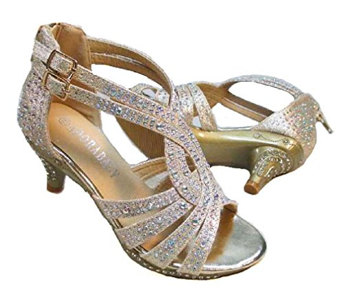 Adorababy Girls Dress Shoes Rhinestone Pageant Heels Champagne - Dress Shoes Pageant