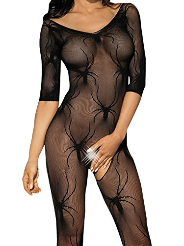 Spider Body (Beauty's Love Sexy Spider Lace See Through Crotchless Fishnet Bodystocking)