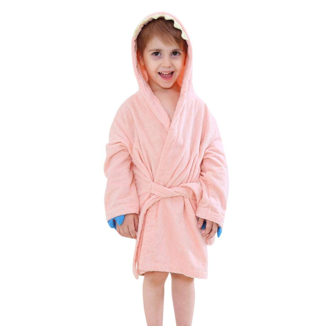 OCEAN-STORE Toddler Baby Girl Boy Clothes for 24 Months-5T,Long Sleeve Cartoon Dinosaur Hooded Bathrobe Bathrobe Cloak Nightgown Outfits (L, Pink)