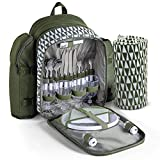 VonShef Picnic Backpack for 4 with Insulated Cooler Compartment - Includes Removable Bottle Holder and Wine Carrier, Picnic Blanket and Picnic Cutlery/Dinning Set - Green
