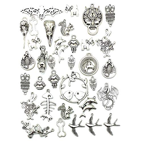 100 Gram Animal Charms, JIALEEY Wholesale Mixed Silver Animals Charm Pendants DIY for Necklace Bracelet Dangle Jewelry Making and Crafting
