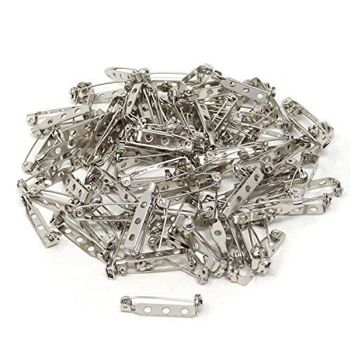 Honbay 100PCS Silver Tone Pin Backs Safety Pins Brooch Pins Bar Pins for Crafts (25MM) ()