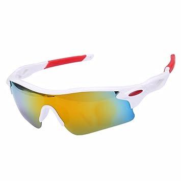 Moda deportes al aire libre Ciclismo para bicicleta Pesca Gafas de conducción gafas de sol gafas (Golden + blanco)