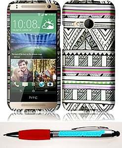 Accessory Factory(TM) Bundle (the item, 2in1 Stylus Point Pen) For HTC One Remix M8 Mini 2 Rubberized Design Cover Case - Antique Aztec Tribal