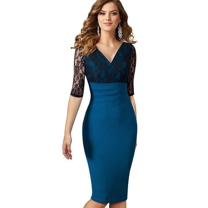 COCO clothing Vestido Quinta Manga Encaje Casual de Verano Lápiz para Mujer OL Style Azul (