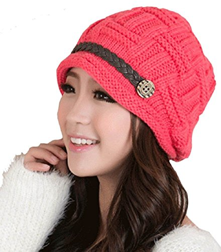 YCHY Slouch Women hat Winter Baggy Snowboarding Knit Snow Warm Hat Beanie Crochet Cap (red) (Red Slouch Ladies Hat)