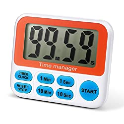 Digital Countdown Kitchen Timer - AIMILAR Count Down Timer Clock With Alarm Large Screen Fast Setting (Blue)