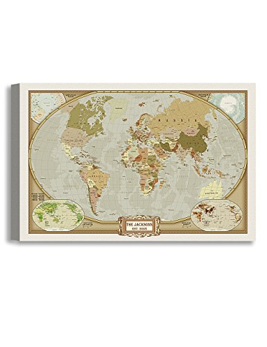 DecorArts - Classic World Map, Personalized Canvas Prints with your family or companys name and date. Perfect gift for housewarming and grand opening. 36X24