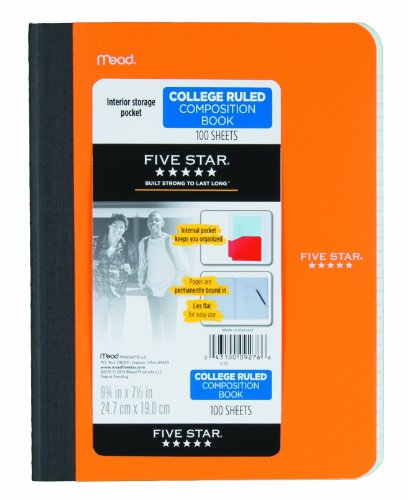 """Five Star Poly Composition Book, Pockets, 100 CT, 9-3/4"""" X 71/2"""", Assorted, Color Selected For You May Vary (09276)"""