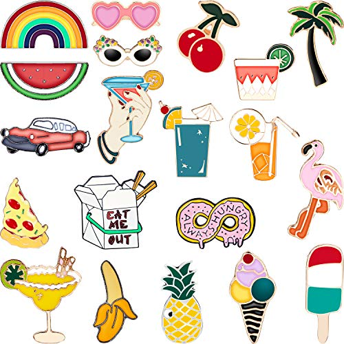 Hicarer 20 Pieces Cute Enamel Lapel Pin Set Cartoon Brooch Pin Badges Summer Brooch Pins for Clothing Bags Jackets Accessory DIY Crafts
