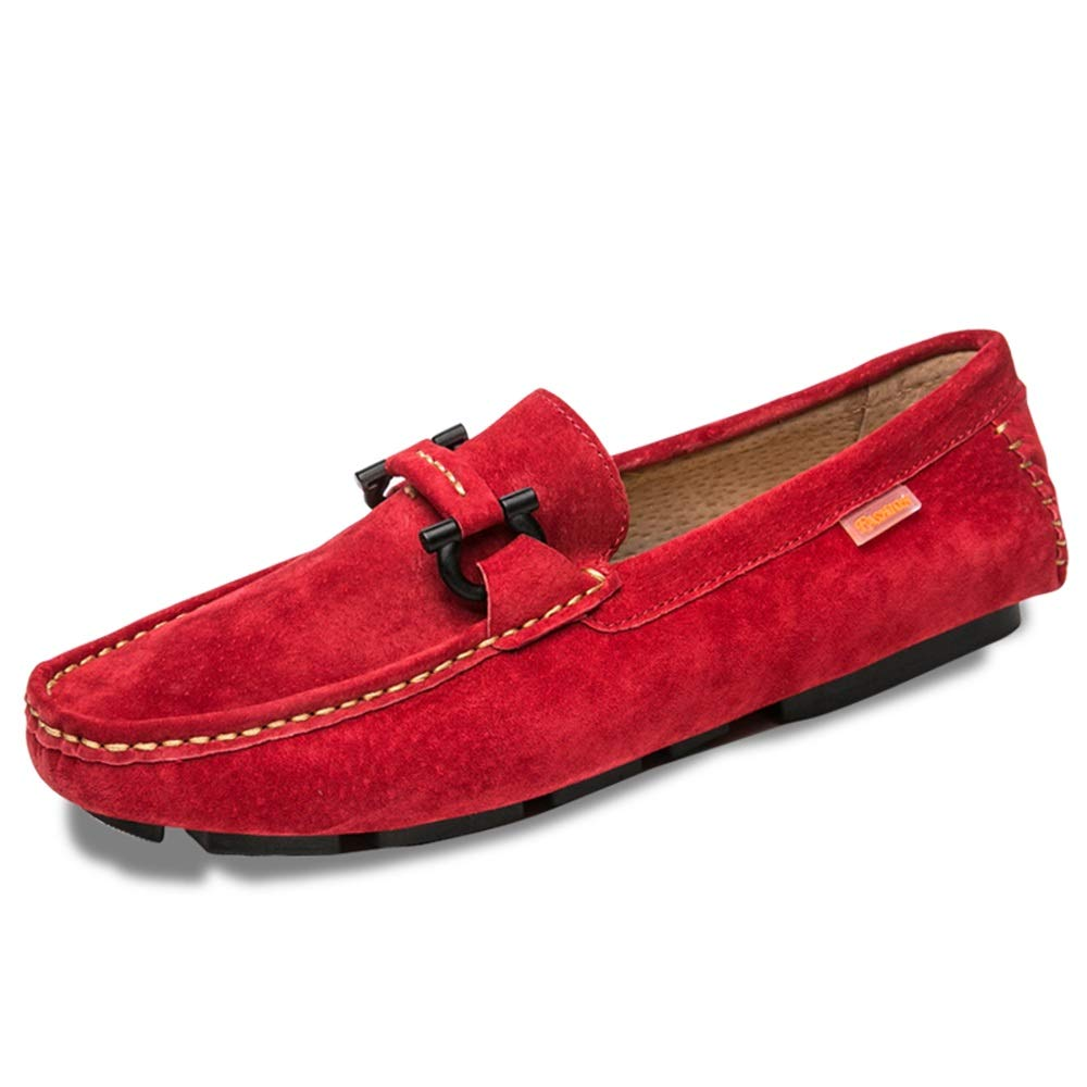 Gobling Driving Loafers for Men, Non-Slip Moccasin Suede Leather Slippers Penny Boat Shoes Vamp Decor with Fashion Buckle (Color : Red, Size : 7.5 M US)