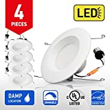 OSTWIN 5-6 inch LED Downlight Round RETROFIT KIT Recessed Ceiling Lighting Fixture, Baffle Trim, 18W (90W Replacement), Dimmable, 3000K (Soft white), 1200 Lumens, (4 Pack) UL and ENERGY STAR listed