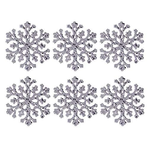 Viet-ST Artificial Snow & Snowflakes - 6pcs/Set Transparent Silver Snowflake Christmas Tree Pendant Home Xmas Festival Decorative Ornament Children Chirstmas Gift 1 PCs